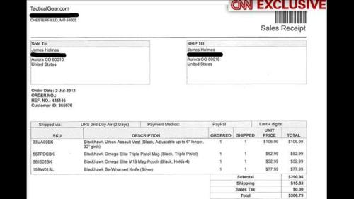 James Holmes Aurora Colorado Shooter Invoice